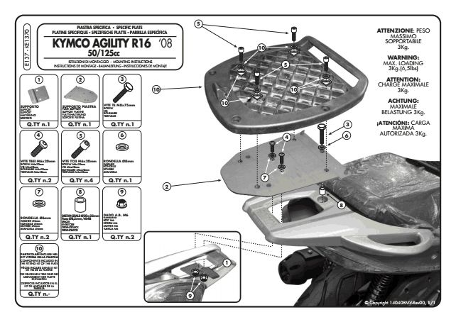 givi e137 top box adapter kit monolock for kymco agility 50 125 150 accessories international