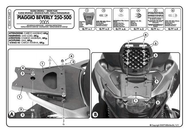 givi e344 top case adapter kit monolock for piaggio. Black Bedroom Furniture Sets. Home Design Ideas