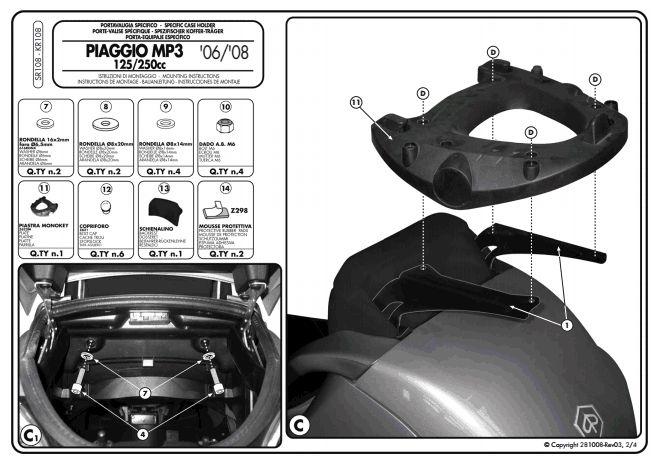 Givi Sr108 Specific Rack For Piaggio Mp3 250 400