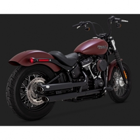 Vance & Hines 46875 Twin Slash 3-inch Slip-On Exhaust, Black for Harley  Softail